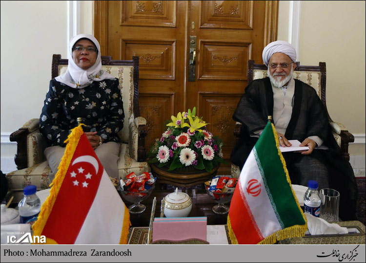 تصویر دیدار آیتالله مصباحی مقدم با رئیس مجلس سنگاپور